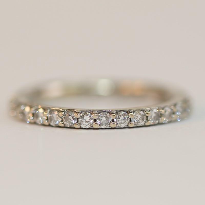 14K White Gold Round Brilliant Diamond 3 Ring Wedding Set Size 5