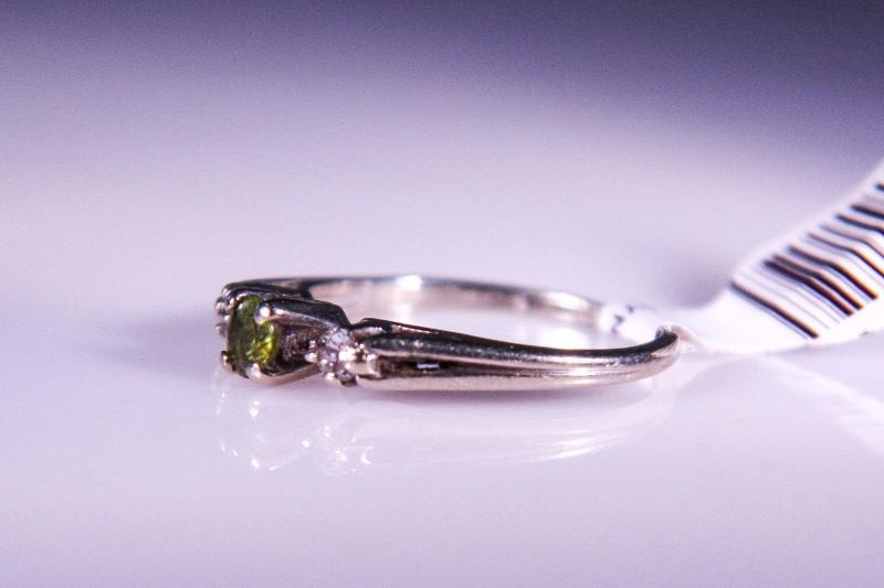Synthetic Peridot Lady's Stone & Diamond Ring 2 Diamonds .04 Carat T.W.