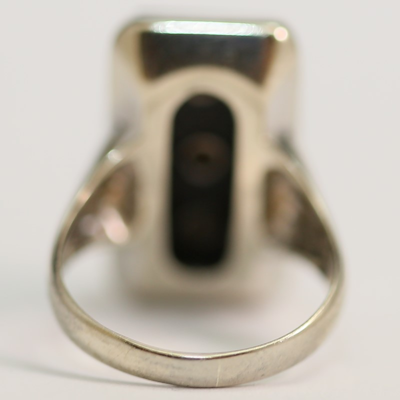 Antique 10K W/G Cabochon Cut Onyx and Brilliant Diamond Ring Size 6