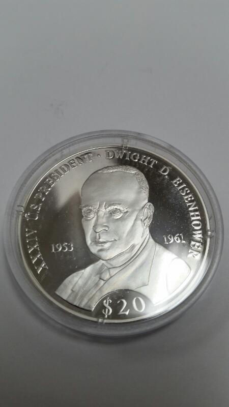 AMERICAN MINT REPUBLIC OF LIBERIA $20.00 SILVER COIN EISENHOWER