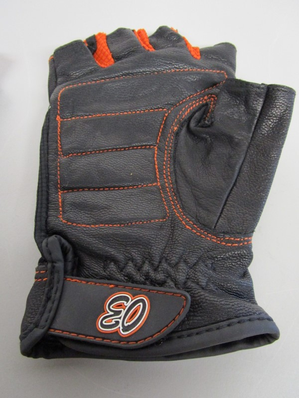 HARLEY DAVIDSON LEATHER FINGERLESS GLOVES, 03, LARGE