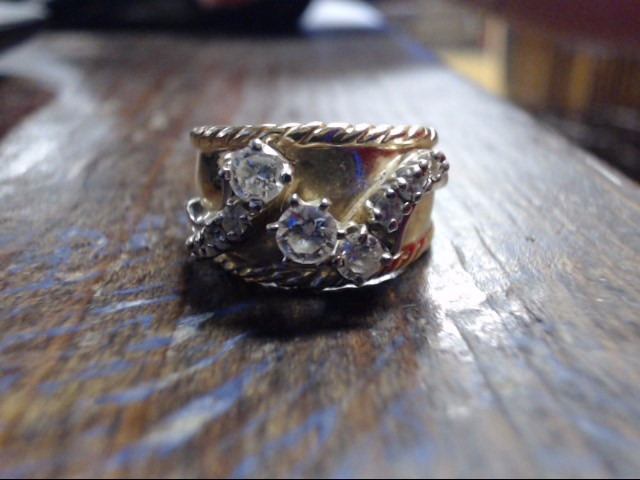 Lady's Diamond Cluster Ring 9 Diamonds .78 Carat T.W. 14K Yellow Gold 10.5g