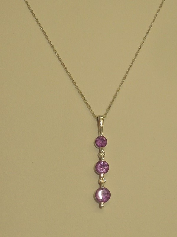 Synthetic Amethyst Diamond & Stone Necklace 2 Diamonds .02 Carat T.W.