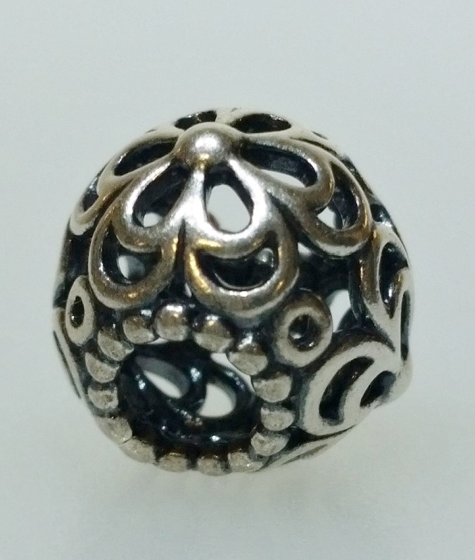 "Authentic Pandora 925 ALE Silver ""Picking Daisies"" European Bead Charm 790965"