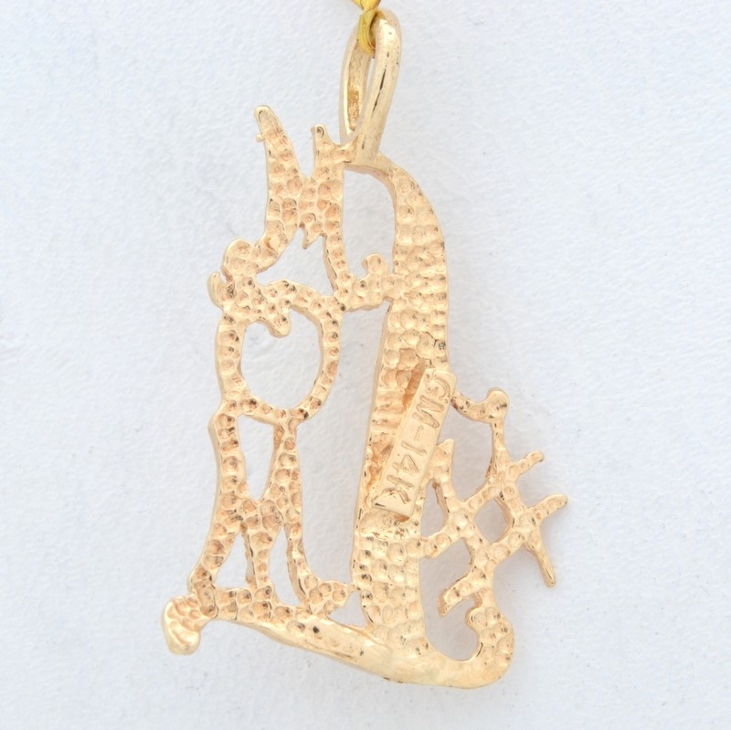 #1 MOM PENDANT CHARM SOLID REAL 14K YELLOW GOLD MOTHER DIAMOND CUT