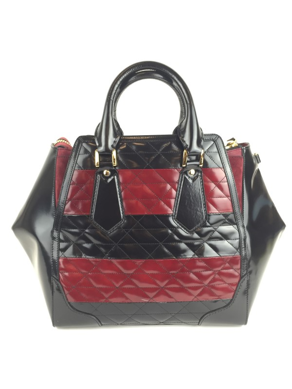 BURBERRY MEDIUM QUILT DETAIL LEATHER TOTE BAG