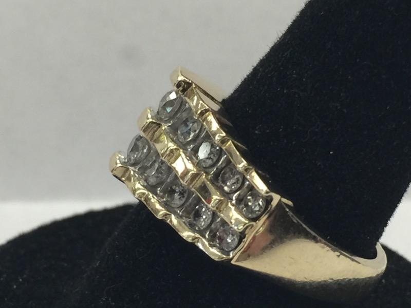 Lady's Diamond Fashion Ring 18 Diamonds .86 Carat T.W. 10K Yellow Gold 2.9dwt