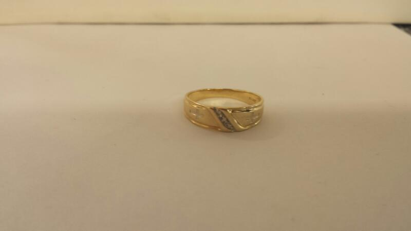 10K-Y/G Gts 3 Diamond Wedding Band Size-12