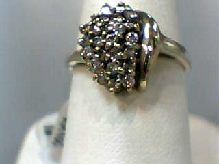 Lady's Diamond Cluster Ring 25 Diamonds .50 Carat T.W. 10K Yellow Gold 2dwt