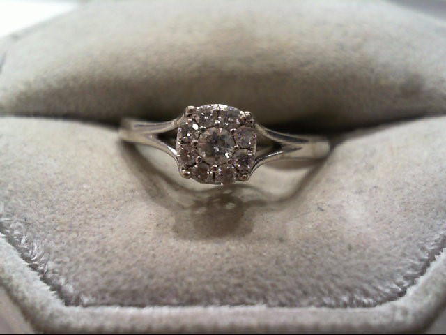 Lady's Diamond Engagement Ring 9 Diamonds .24 Carat T.W. 10K White Gold 2.4g