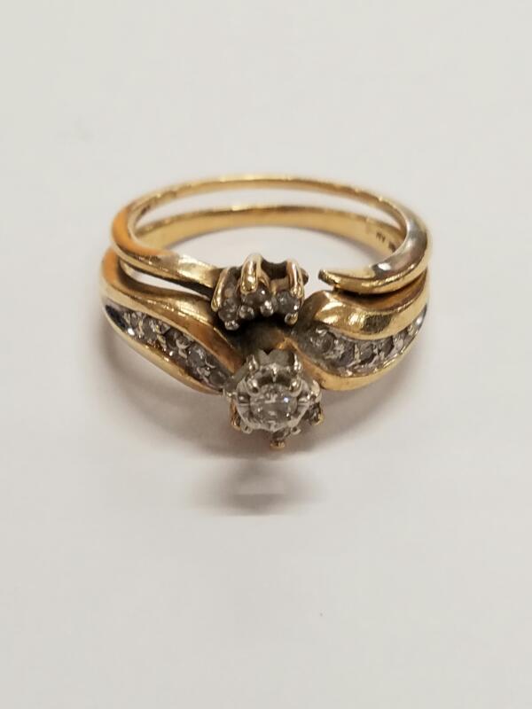 Lady's Diamond Wedding Set 17 Diamonds .21 Carat T.W. 10K Yellow Gold 5.2g