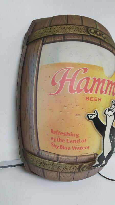 Hamms Beer 1986 Light Up Sign - Refreshing Sky Blue Waters Pabst Milwaukee