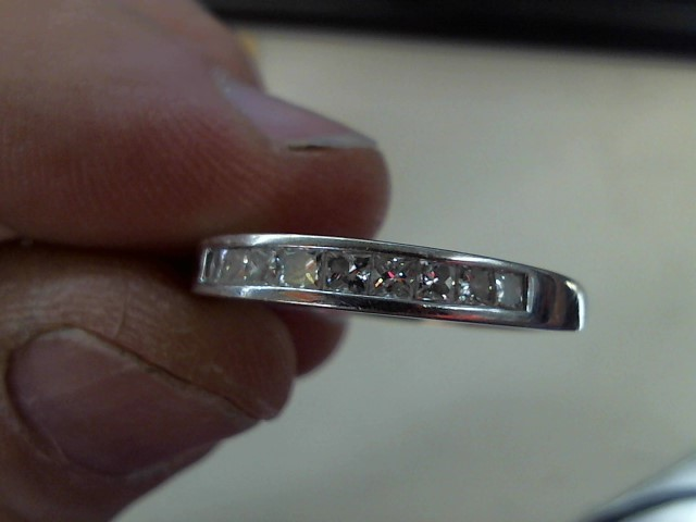 Gent's Gold-Diamond Wedding Band 9 Diamonds .54 Carat T.W. 14K White Gold 3.2g