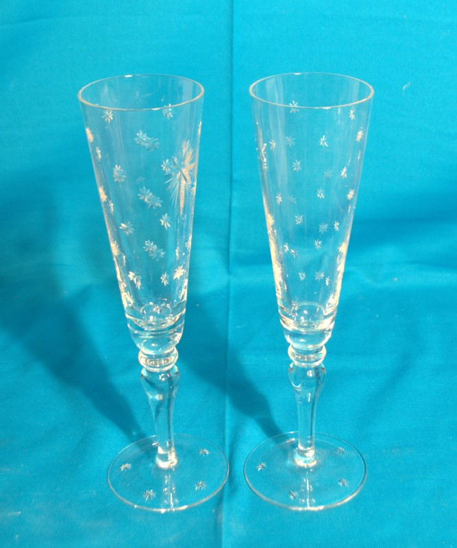 WILLIAM YEOWARD CRYSTAL Neiman Marcus Pair of Champagne Flutes