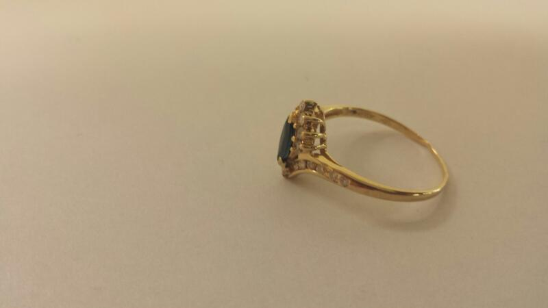 14K-Y/G Lds Stone And Diamond Ring
