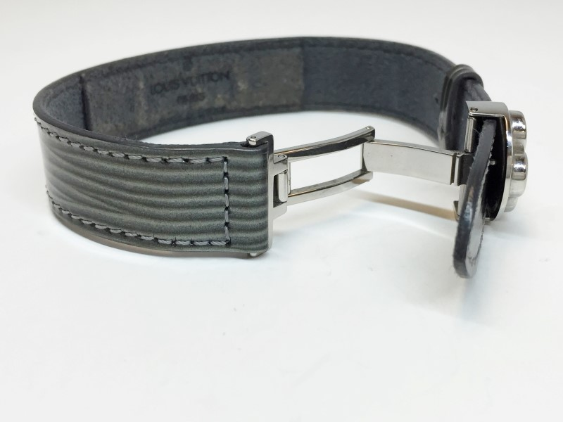 LOUIS VUITTON VOEUX DARK GREEN LEATHER SILVER TONE BRACELET