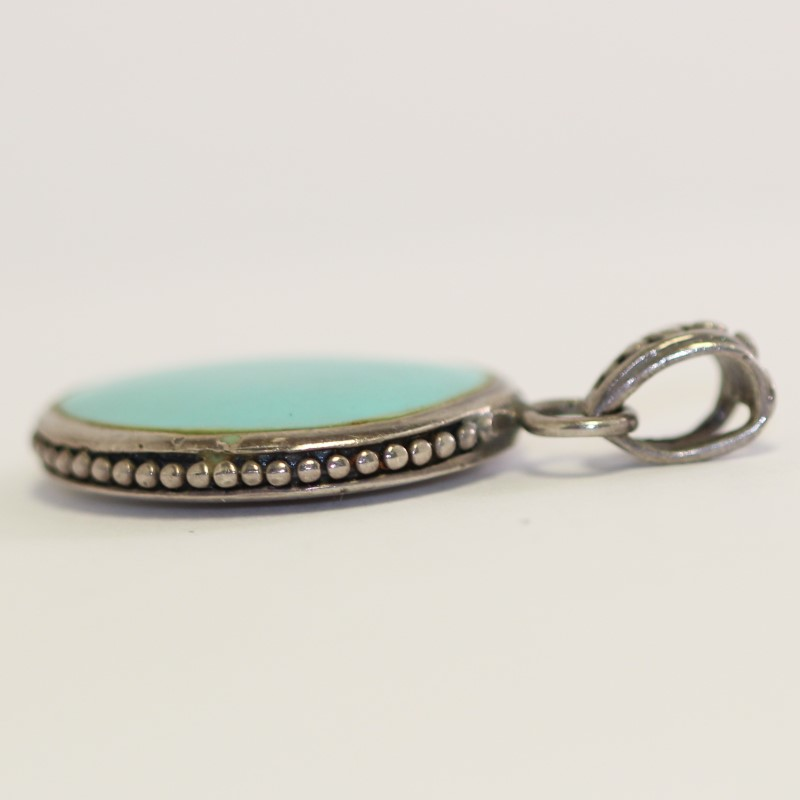 Double Sided Turquoise & Mother of Pearl Sterling Silver Pendant