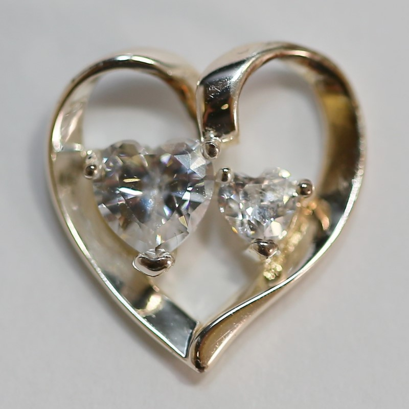 Dual Heart Cut Cubic Zirconia (Backside) Engraved Silver Pendant