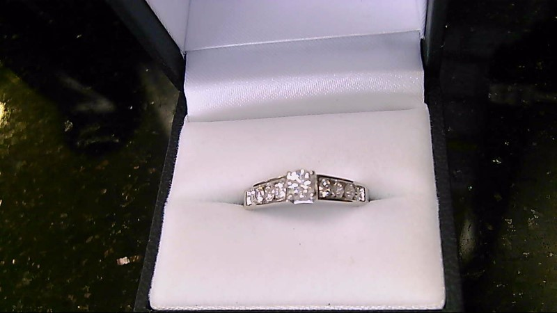 Lady's Diamond Engagement Ring 9 Diamonds .75 Carat T.W. 14K White Gold 4.19g