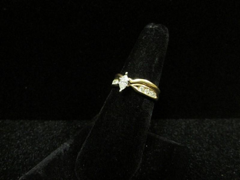 Lady's Diamond Wedding Set 9 Diamonds 0.6 Carat T.W. 14K Yellow Gold 4.6g