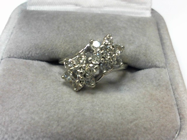 Lady's Diamond Cluster Ring 14 Diamonds .70 Carat T.W. 14K White Gold 3.4g
