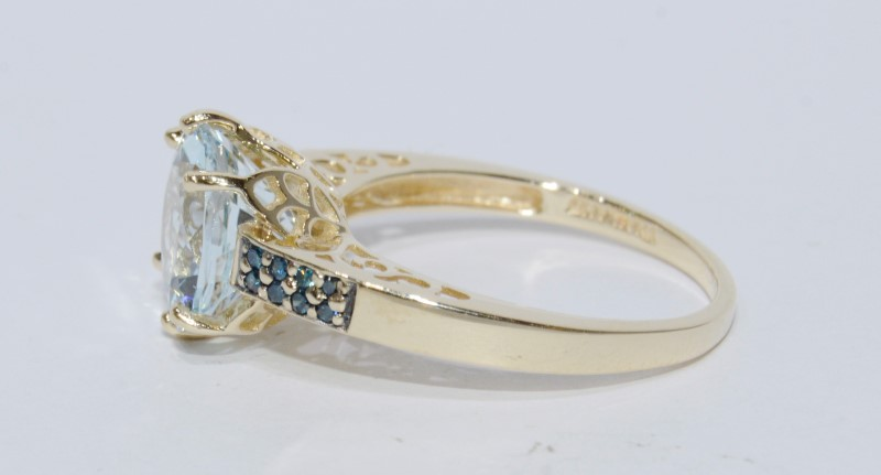 10K Yellow Gold Cathedral Set Filigree Accented Aquamarine & Blue Diamond Ring