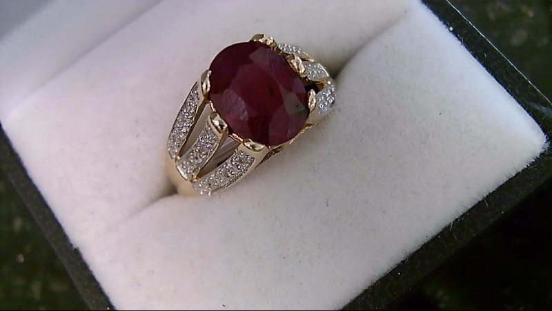 July Birthstone Genuine Oval Cut Ruby and Diamond Lady's Ring