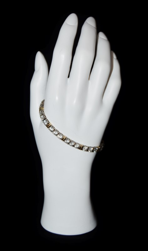 "7"" Sterling Silver Two Tone Cubic Zirconia Tennis Bracelet"