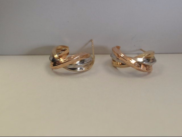 Gold Earrings 14K Tri-color Gold 0.84g