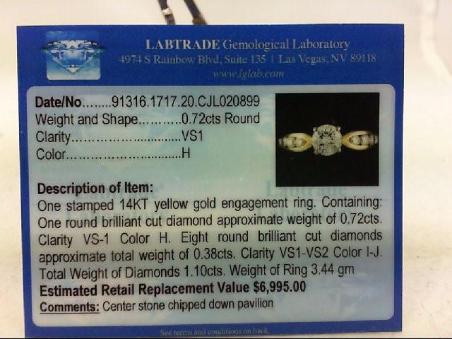 Lady's Diamond Engagement Ring 9 Diamonds 1.12 Carat T.W. 14K Yellow Gold 3.44g