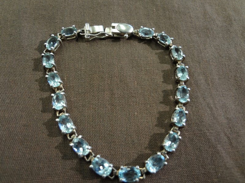Synthetic Blue Topaz Silver-Stone Bracelet 925 Silver 7.7g