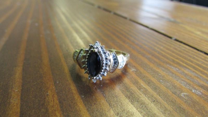 Blue Topaz Lady's Stone & Diamond Ring 30 Diamonds .30 Carat T.W.