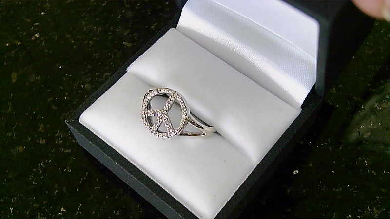 Lady's sterling silver 925 diamond peace sign ring