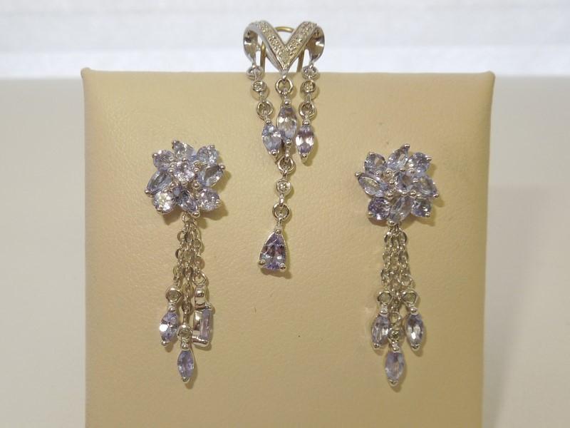 Synthetic Tanzanite Gold-Diamond & Stone Earrings 14 Diamonds .070 Carat T.W.