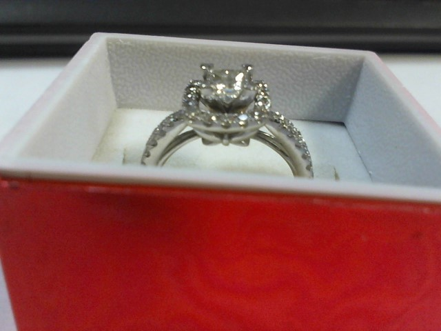 Lady's Diamond Engagement Ring 43 Diamonds .87 Carat T.W. 14K White Gold 3.6g