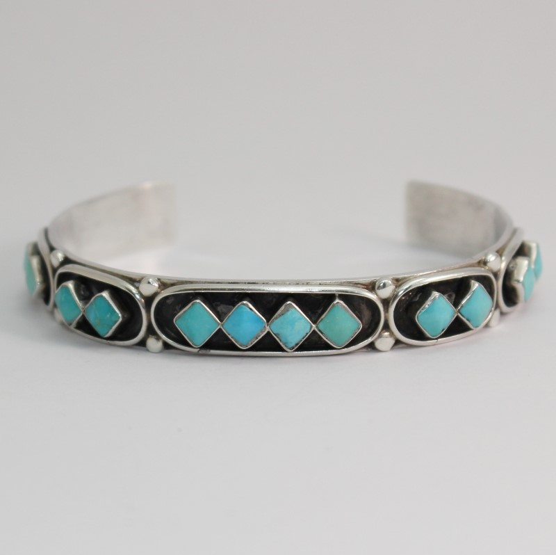 "Princess Cut Turquoise Cuff Bracelet 2.5"" Diameter"