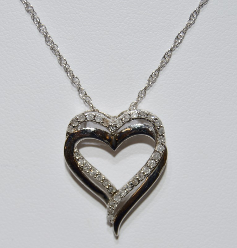 Sterling Silver Diamond Necklace w/ Heart Pendant