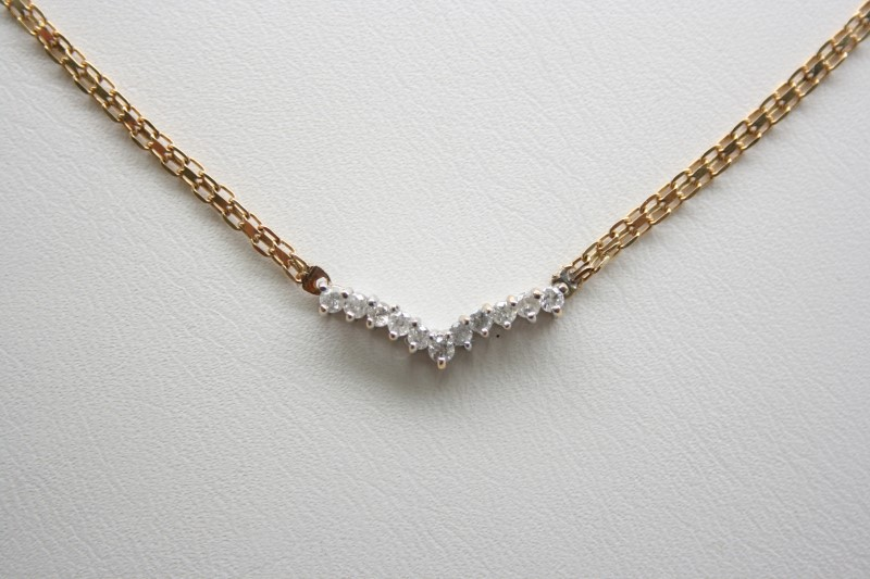 FASHION STYLE DIAMOND NECKLACE 14K YELLOW GOLD