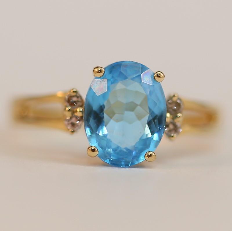 Blue Topaz & Diamond Lady's Ring Size 7 1/4