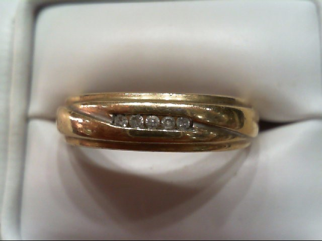 Gent's Gold-Diamond Wedding Band 5 Diamonds .05 Carat T.W. 10K Yellow Gold 4g