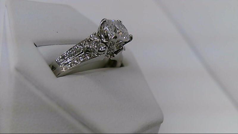 Lady's Diamond Engagement Ring 23 Diamonds 1.56 Carat T.W. 14K White Gold 4.2g