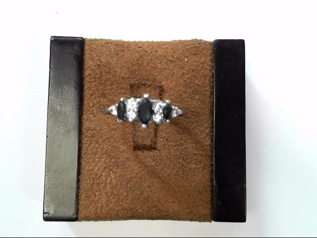 Blue Stone Lady's Silver-Diamond & Stone Ring 6 Diamonds .06 Carat T.W.
