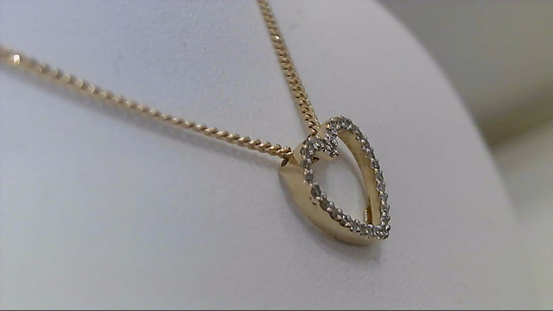 "16"" Diamond Heart Link Chain 30 Diamonds 1/4 Carat T.W. 14K Yellow Gold 3.7g"