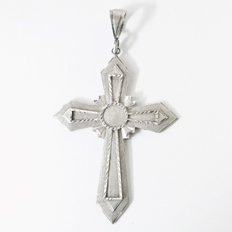 "Large Sterling Silver (925) Cross Pendant (4.75"")"