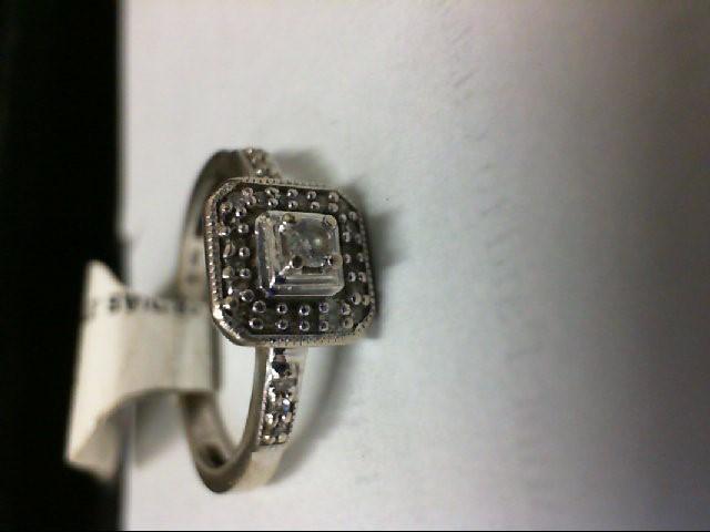 Lady's Diamond Engagement Ring 25 Diamonds .27 Carat T.W. 10K White Gold 1.6g