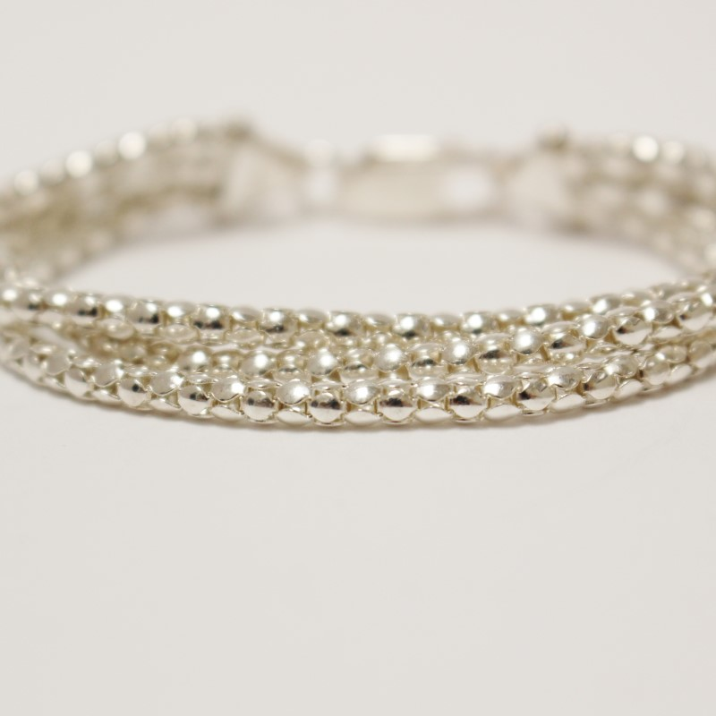 "6"" Three Beaded Strands Sterling Silver Bracelet"