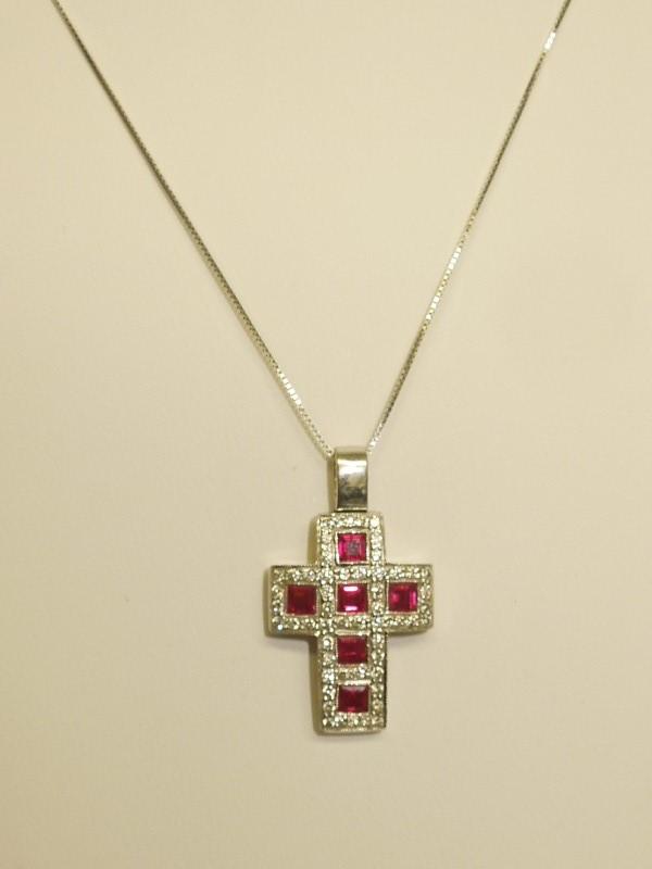 Ruby Gold-Diamond & Stone Pendant 50 Diamonds .50 Carat T.W. 14K White Gold