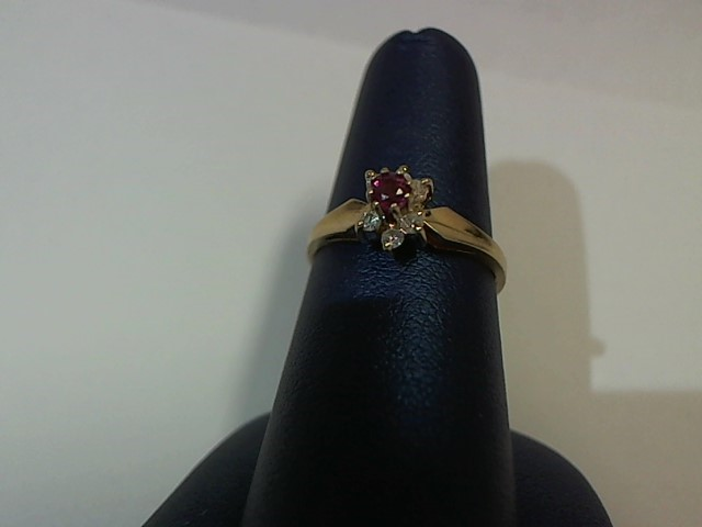 Red Stone Lady's Stone & Diamond Ring 6 Diamonds .12 Carat T.W. 14K Yellow Gold