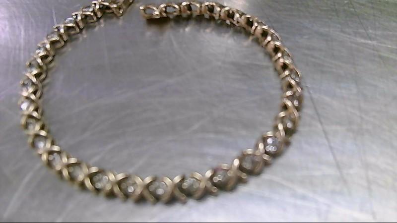 Gold-Diamond Bracelet 30 Diamonds 3.00 Carat T.W. 14K Yellow Gold 10.9g