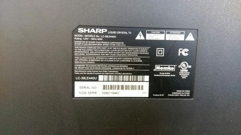 "SHARP 39"" FLAT PANEL TV WITH REMOTE MODEL LC-39LE44OU"